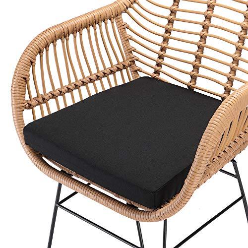 Casaria 3 TLG. Balkonset Beistelltisch 2 Lounge Sessel Indoor Outdoor Wetterfest Natur Poly Rattan-Look Sitzgruppe Garten Balkon Set - 7