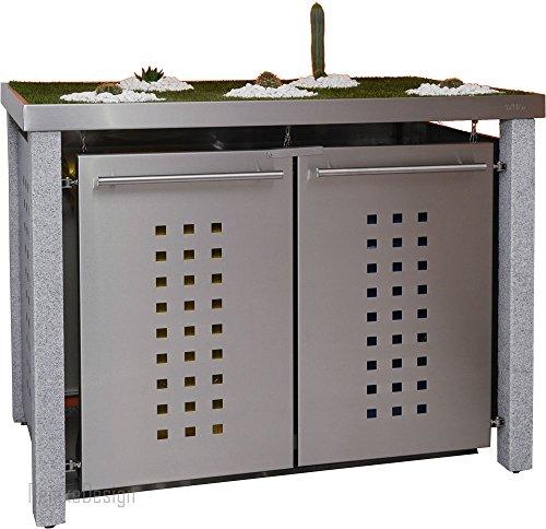 Mülltonnenbox mit Granitpfosten & Pflanzenwanne 2x240l