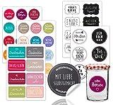 46x Sticker Aufkleber Ø 5-8 cm Etiketten selbstklebend als Geschenkaufkleber wie Marmeladengläser...
