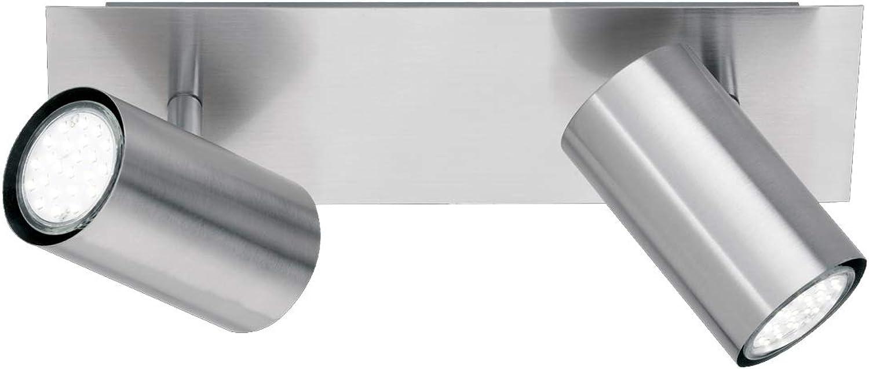 Trio Moderner LED Deckenstrahler mit 2 schwenkbaren LED Spots aus Silber mattem Metall