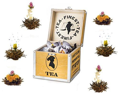 Creano Mix de Thé en Fleurs - Boîte de Thé en Bois avec 6 Fleurs de Thé | 3 Types différents (Thé noir)