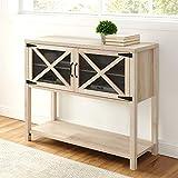 WE Furniture AZU44ABMDWO Industrial Modern Farmhouse Wood Buffet Sideboard Storage Cabinet Living Room Entryway, 44 Inch, White Oak