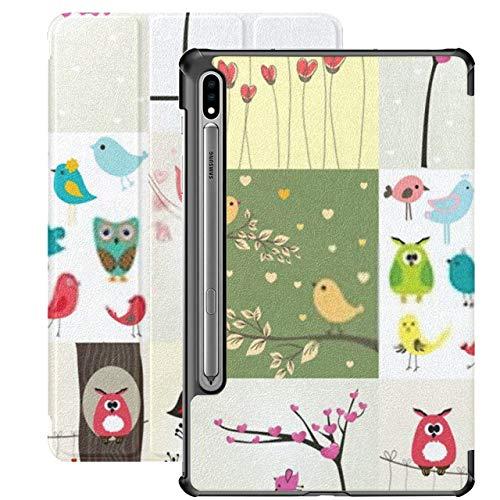 Funda para Galaxy Tab S7 Funda Delgada y Ligera con Soporte para Tableta Samsung Galaxy Tab S7 de 11 Pulgadas Sm-t870 Sm-t875 Sm-t878 2020 Lanzamiento, Juego de 9 Tarjetas de San Valentín Cute Birds