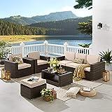 Tribesigns 7 Piece Patio Sofa Set PE Wicker Rattan Sectional Sofa Set Patio Furniture Set (Brown1)