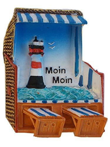 Unbekannt Maritimer Kühlschrankmagnet Strandkorb, Leuchtturm und Moin Moin Schriftzug | 6,5 x 5 cm