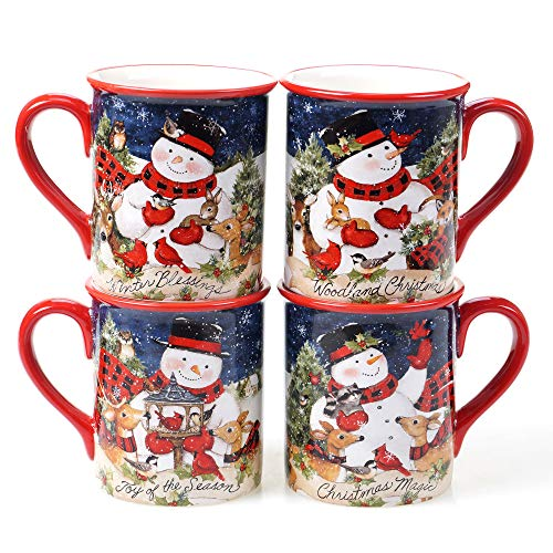 Certified International Magic Of Christmas Snowman 16 oz. Mugs, Set of 4, Multicolored