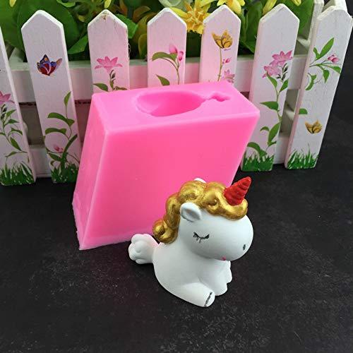 Estereoscópico 3D unicornio coche aromaterapia yeso decoración molde pastel decoración molde vela molde silicona epoxi molde