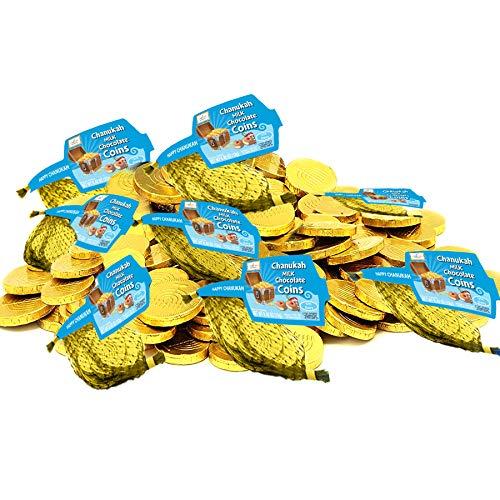 Hanukkah Chocolate Gelt, Milk Chocolate Coins, Kosher Certified Cholov Yisroel Chanukah Gelt (8 Mesh Bags)