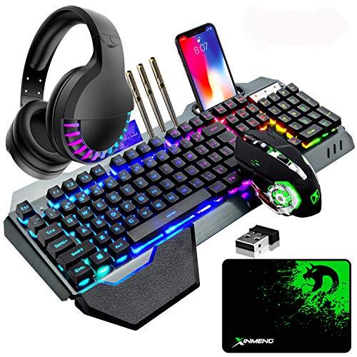 Kabellose Gaming-Tastatur & Maus & Headset Set,4 in 1,16 RGB Hintergrundbeleuchtung wiederaufladbare Tastatur mit Handballenauflage,7 Gaming-Maus mit Hintergrundbeleuchtung & RGB Bluetooth-Kopfhörer
