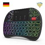 Rii X8 Mini Tastatur Wireless, 2,4 GHz Kabellos Tastatur mit 8 Farbige Hintergr&beleuchtung, Touchpad & Scrollrad (Deutsches, Schwarz