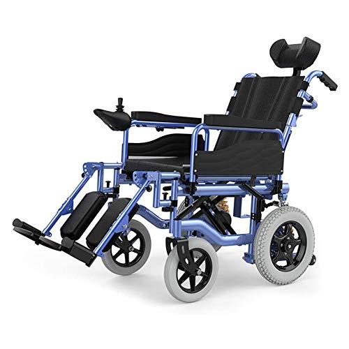 Wheelchair Elektrischer Rollstuhl Mit Kopfstütze, Intelligente Automatische Elektrorollstuhl,Faltbar Tragbare, Frei-Reiten, Rollstuhl Kann 150Kg Unterstützen,Einstellbarer Rückenlehnenwinkel