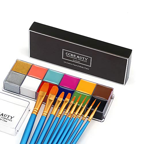 CCBeauty Professional Face Body Paint Oil 12 Colors Halloween Art Party Fancy Make Up Set with 10 Blue Brushes,Deep