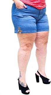 Shorts Jeans Feminino Cambos Plus Size Kathlenn Azul