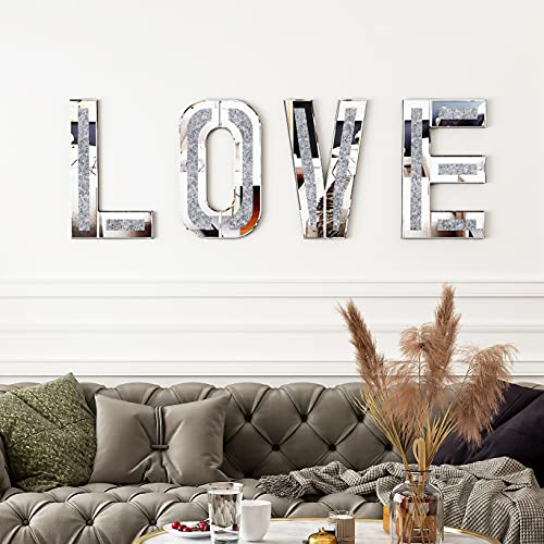 Mirrored Love Letter for Wall Decor - SHYFOY Crushed Diamond Love Sign Large - Modern Mirror Decorative Wall Art for Home Living Room Bedroom, Wedding Engagement Proposal Party Decorations