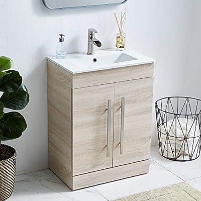 24 Inch Modern Grey Wood Grain Bathroom Vanity Bath Vanity with Sink,Vanity Cabinet with Double Handle Bathroom Vanity Set Bathroom Vanity Cabinet Small Bathroom Sink Vanity Natural Wood for Bathroom