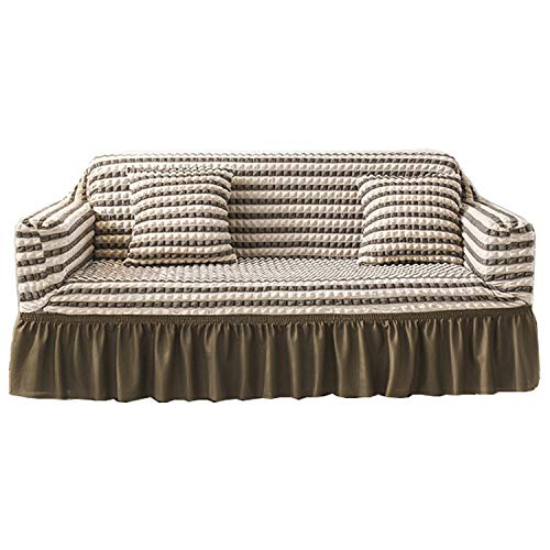 BHAHFL Funda para sofá con Falda de Seersucker, Funda para sofá de Encaje con Falda de Estilo Coreano, Funda para sofá de 1 2 3 4 Asientos, Funda para Muebles para Mascotas y niños,Coffee Color,Four
