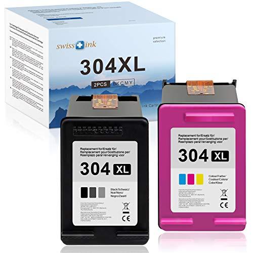 Swiss Ink Kompatibel Patronen Ersatz für HP 304 XL 304XL Druckerpatronen für HP DeskJet 3720 3730 3732 3735 2620 2630 2632 2633 HP Envy 5020 5030 5032(1 Schwarz, 1 Farbe)