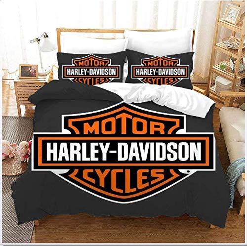 Ropa De Cama 135 X 200 Cm Harley Davidson Juego De 2 Piezas, 1 Cubierta De Edredón Y 1 Funda De Almohada 50 X 75 Cm con Diseño con Cremallera De Lecho De Microfibra,200x200cm+50x75*2