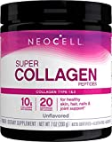 NeoCell Super Collagen Peptides Powder, 7 Ounces, Non-GMO, Grass Fed, Paleo Friendly, Gluten Free, For Hair, Skin, Nails & Joints (Packaging May Vary), Unflavored, 20 Servings