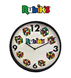 Rubik's Cube Analog Wall Clock (Time to Solve) for Kid's Bedroom, Home and Office; Geometric Clock Face & Black Acrylic Frame, Quartz Movement, AA Battery No Included, 12' Round, Beige Color