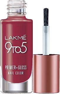 Lakme 9 to 5 Primer + Gloss Nail Colour, Ruby Rush, 6 ml
