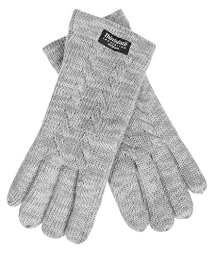 EEM Damen Strick Handschuhe FREYA mit Thinsulate Thermofutter aus Polyester und Zopfmuster, Strickmaterial aus 100% Wolle; grau-meliert, S