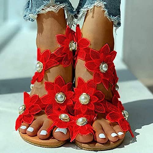 MIAOZHANG Mujeres Plano PU Artificial Sandalias Verano Cabeza Redonda Flores Gasa Perla Casual Colocar Dedo Pie Ligero Resistente Desgaste Zapatos,3,EU 41