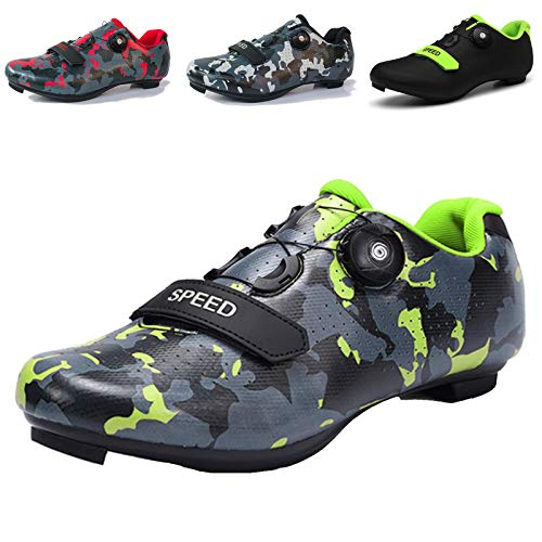 Mens Cycling Shoes Road Bike Breathable Non-Slip Road and Mountain Bike Shoes with SPD and Delta for Men Lock Pedal Bike Shoes Camo Green