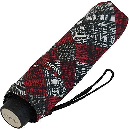 Doppler Mini Taschenschirm Havanna UV-Protect sturmfest leicht - Karre - rot