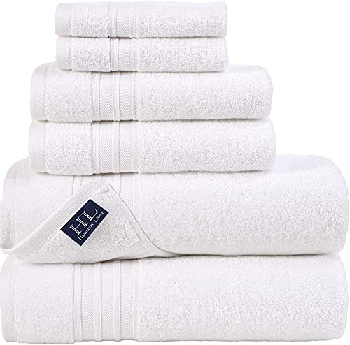 Hammam Linen White Bath Towels Set 6-Piece Original Turkish Cotton Soft,...