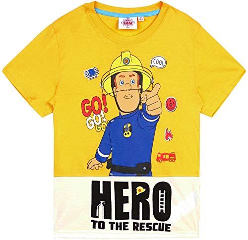Feuerwehrmann Sam T-Shirt Jungen Rundhalsausschnitt (Gelb, 92-98)