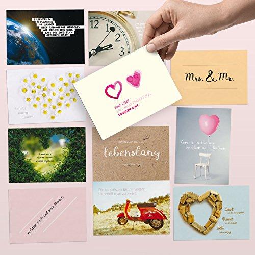 52 Postkarten für die Hochzeit – liebevoll gestaltetes Hochzeitsgeschenk: Jede Woche eine DIN A6 Karte als Gästebuch-Alternative – Hochzeitsspiel & Geschenk-Idee zum Thema Liebe, Partnerschaft & Ehe
