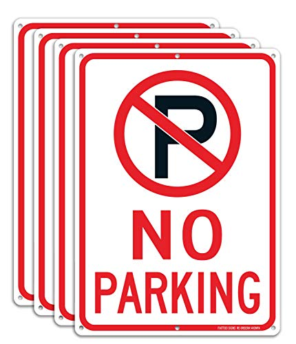 No Parking Sign with Symbol Sign (4 Pack), 14 x 10 Inches Reflective .40 Rust Free Aluminum, UV Protected, Weather Resistant, Waterproof, Durable Ink,Easy to Mount