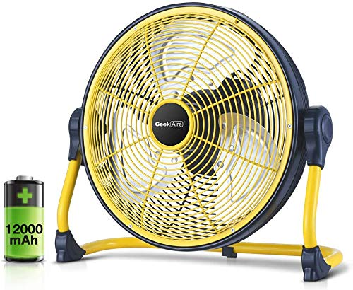 Geek Aire, 12 Inch Rechargeable Table Fan with 12000 mAh Li-ion Battery, upto 20 hrs Run time during Power Failure (Yellow/Black)
