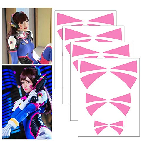 Cosplay Face Temporary Tattoos, 4 Sheets Overwatch DVa Face Tattoo Stickers 3 Sizes (Pink)