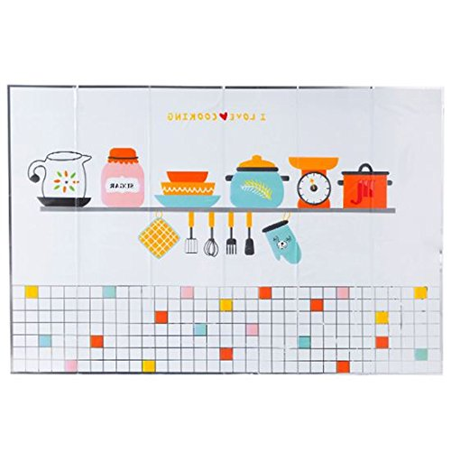 WEIAIXX De Zelfklevende Hittebestendige Vet Stickers Thuis Oven Tegels Behang Keuken Waterdichte Muur Mount Anti-Skid Bestek 60 * 90Cm