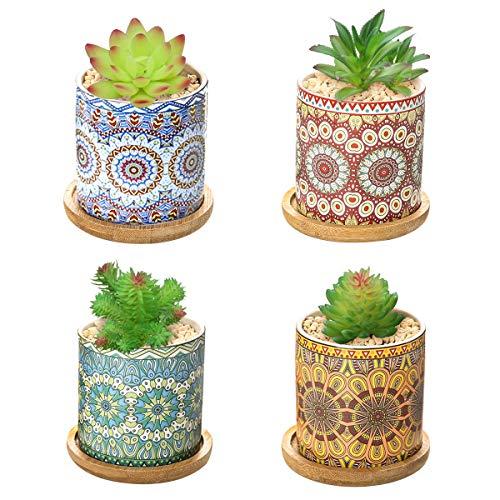 Dsaren 4 Piezas Macetas de Plantas Suculentas Mandala Macetas Cerámica Pequeñas con Bandeja Bambú Maceta Cactus Decoracion para Casa Balcón Oficina (4 Piezas)