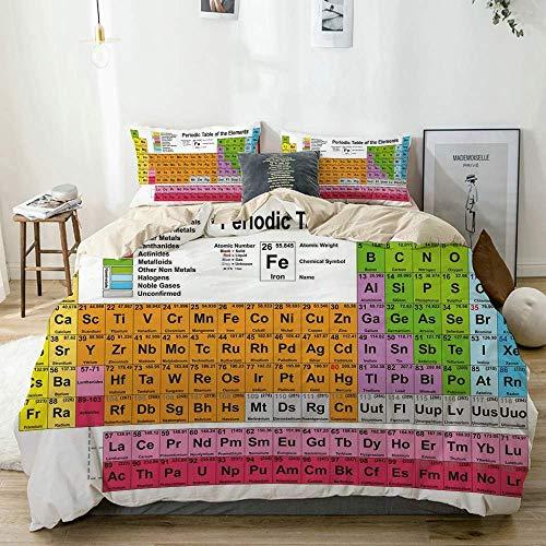 Juego de Funda nórdica Beige, Science Freak Chemistry Lovers Tabla de Elementos Coloridos para una Imagen de Aprendizaje Divertida, Juego de Cama Decorativo de 3 Piezas con 2 Fundas de Almohada