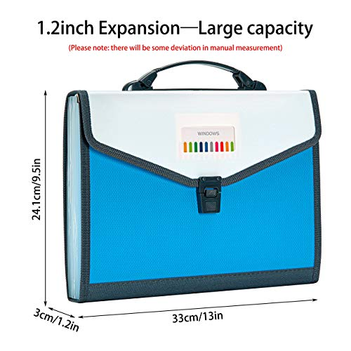 FANWU 13 Pockets Expanding File Folder Accordion File with Handle & Buckle - Letter A4 Paper Size - Expandable Plastic File Folder Monthly Portable Document Organizer for Home School Office (Blue) Photo #5