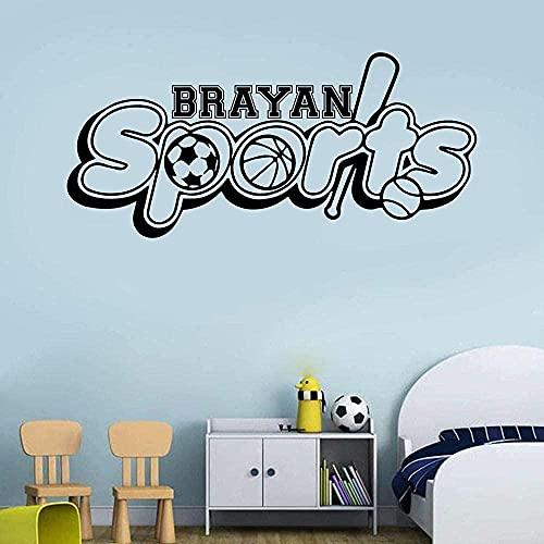 Pegatinas de arte de pared dibujos animados nombre personalizado baloncesto calcomanías de arte de pared autoadhesivas para sala de estar habitación de niños 74 cm x 33 cm