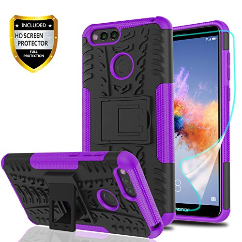 YmhxcY Honor 7X Phone Case,Mate SE Case with HD Screen Protector,Military Armor Drop Tested [Heavy Duty] Hybrid Case with Kickstand for Honor 7 X 5.9-LT Purple