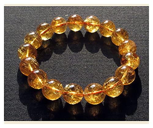 Natural Citrino Piedra Preciosa Amarilla Cuello Redondo Redondo Hombres Mujeres Pulsera Amor Rico Pulsera 10mm 11m 12mm 13mm 14mm AAAAA Espíritus Dinero Dibujo Riqueza Fortuna (Color : 10mm)