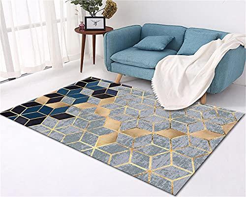 Cuscini Da Pavimento Grandi Tappeto Lavabile Area Grigio Blu Gold Colour Colour Geometric Tappeto Soggiorno Camera da letto Accessori Tapetto Casa Moderni Soggiorno 60X90CM