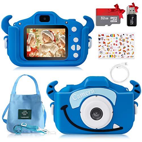 Cámara Fotos Digital para Niños, Cámara Digital Infantil Selfie con Tarjeta TF 32GB, Pantalla HD 1080P 2'', Lector de Tarjetas, Pegatinas DIY y Bolsa, Juguete Regalo para Niñas y Niños de 3 a 12 Años