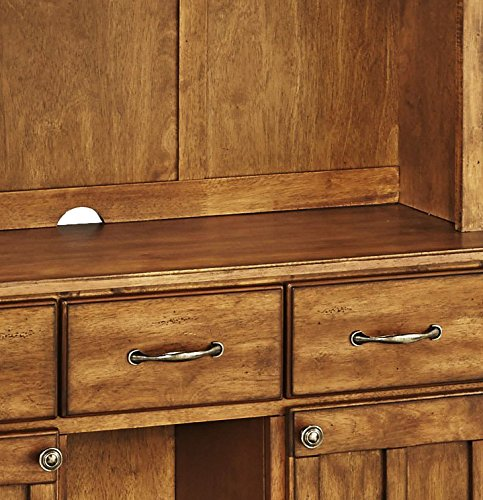 Home-Styles-Cottage-Oak-Server-with-Cottage-Oak-Top-and-Two-Door-Hutch