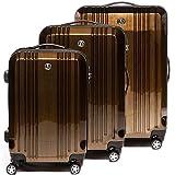 FERGÉ set di 3 valigie viaggio CANNES - bagaglio rigido dure leggera 3 pezzi valigetta 4 ruote marrone