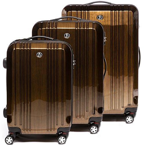 FERGÉ Kofferset Hartschale 3-teilig Cannes Trolley-Set - Handgepäck 55 cm L XL - 3er Hartschalenkoffer Roll-Koffer 4 Rollen 100% ABS & PC Bronze