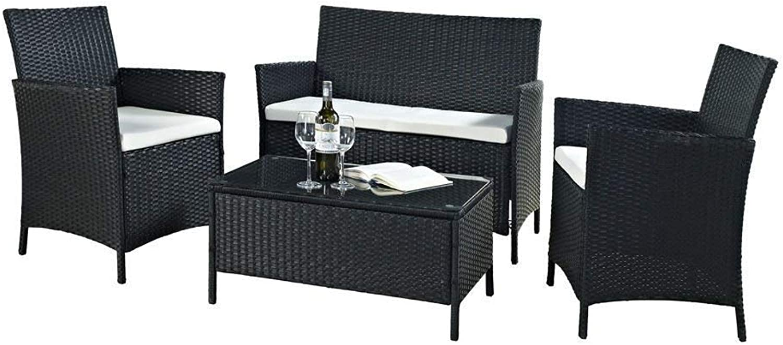 EBS Polyrattan Gartenmbel set Gartengarnitur Sitzgruppe Lounge Garnitur 1 Tisch 3 Stühle Wei Sitzkissen (Schwarz)