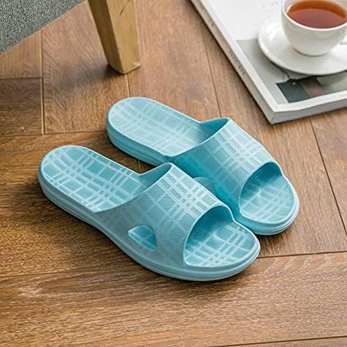 JFHZC Zapatos de Playa,Zapatillas de casa de Ducha de baño con Fondo Suave, Unisex a Cuadros de Verano Antideslizante para el Ocio Slide-Sky_Blue_38 / 39EU