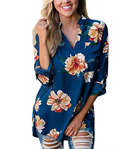 Mujer Camisas Elegantes Vintage Fiesta Estampadas De Flores Tops Camisetas V Cuello Manga 3/4 Casual Moda Anchas Basicas Primavera Otoño Blusones T Shirt Blusa